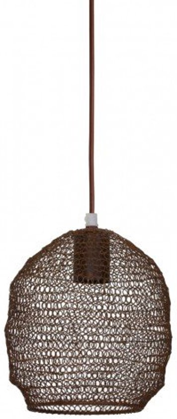 Bekend bol.com | Hanglamp bruin metaal rond gaas roest - 18x20cm ZL17