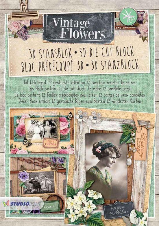 Vintage Flowers - 3D Stansblok