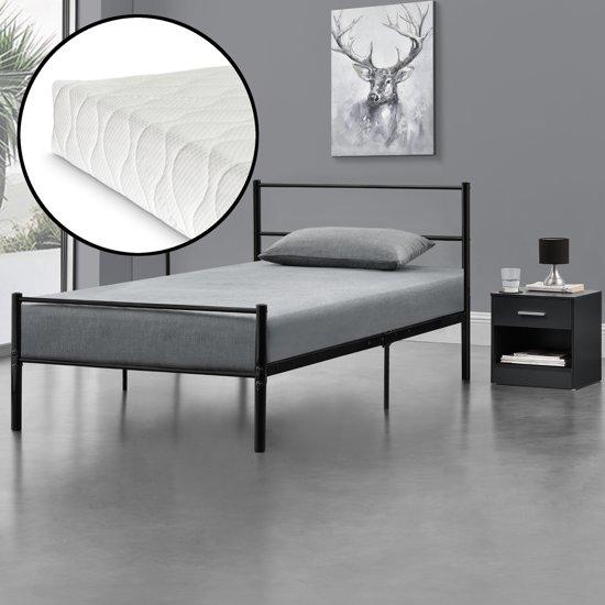 Eenpersoonsbed Met Metalen Frame.Bol Com Metalen Eenpersoonsbed Incl Matras 90x200cm Zwart
