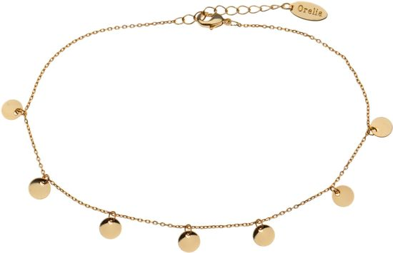 Orelia enkelbandje met muntjes - Brass, goudkleurig - 23 cm + 4,5 cm verlengstuk