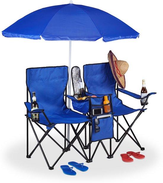 Strandstoel Met Parasol.Relaxdays Dubbele Campingstoel Strandstoel Opvouwbaar Kampeerstoel Parasol Blauw
