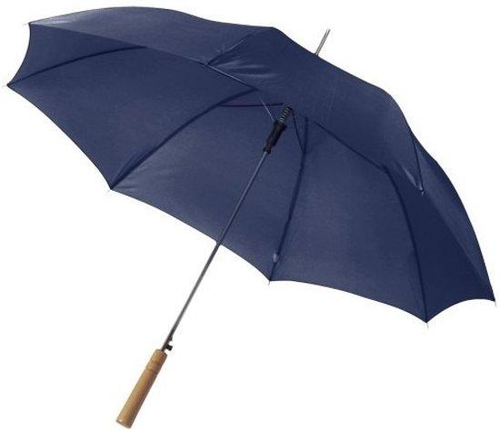 Automatische paraplu 102 cm doorsnede in het blauw - grote paraplu met houten handvat