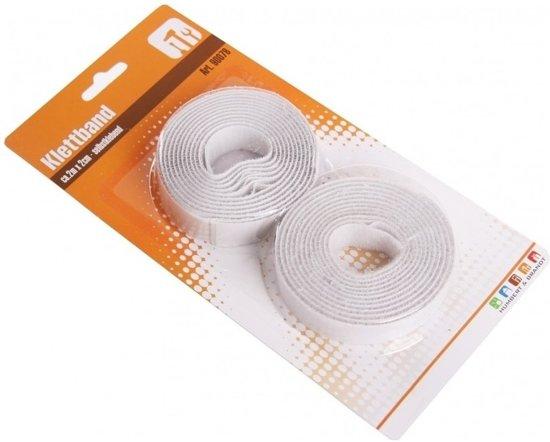 Zelfklevende klittenband wit 2 rollen