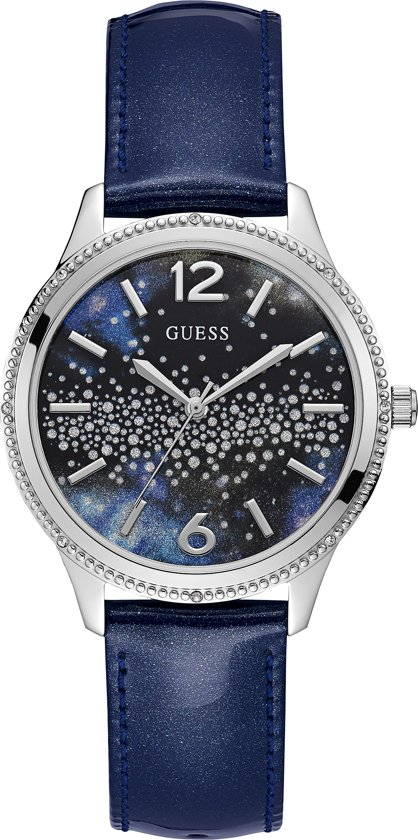 GUESS Watches W1028L1 - Horloge - Dames - Staal - Blauw - ⌀ 39 mm