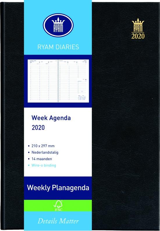 Agenda Ryam Weekly 2019 A4 zwart 7d/2p