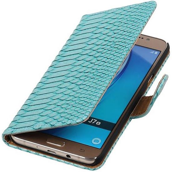 Slang Bookstyle Hoesje voor Samsung Galaxy J7 (2016) Turquoise