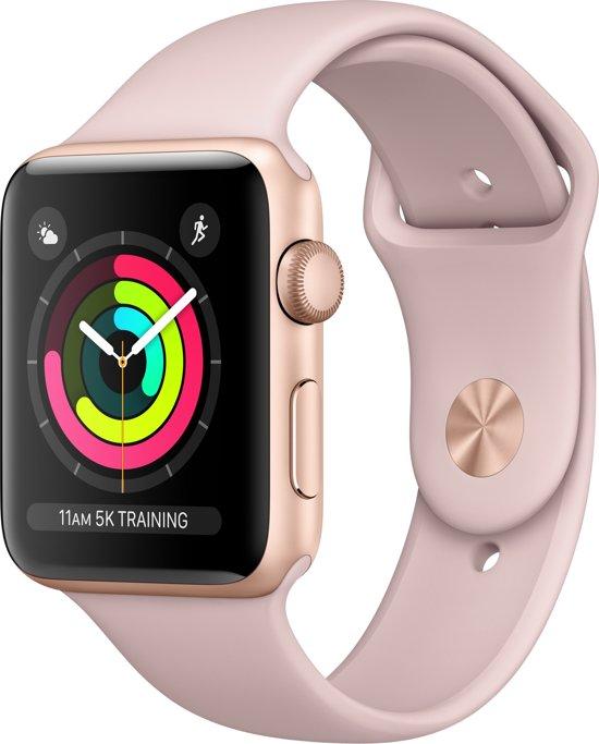 Apple Watch Series 3 Smartwatch 42mm Goudkleurig Aluminium / Roze Sportband