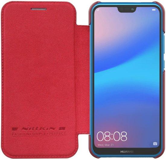 Qin Smart Type De Livre En Cuir Rouge Pour Huawei Lite P20 QPbFEgXR