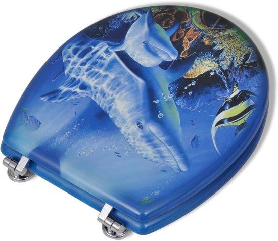 vidaXL Toiletbril met hard-closedeksel 2 st MDF dolfijn