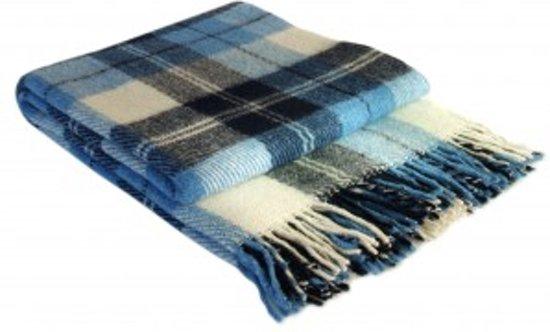 Wollen Deken Geruit.Most Wollen Plaid Dundee Plaid Deken 100 Biologische Wol Blauw