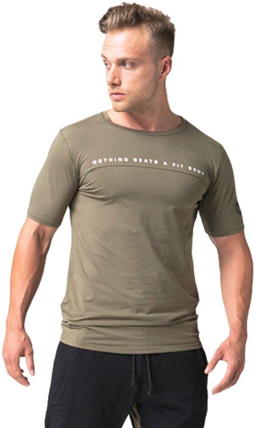Body & Fit Sportswear Matt T-Shirt-Olive / Black - Sportshirt - XL