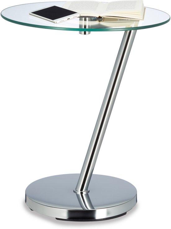 Bijzettafel Van Glas.Relaxdays Bijzettafel Glas Doorzichtig Ronde Koffietafel Glasplaat Op 1 Been Zilver