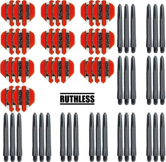 Dragon darts – 10 Sets Ruthless Flights – darts flights – Oranje – plus 10 sets Dragon – darts shafts – medium
