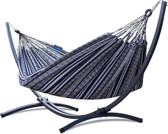 Potenza Grande Zebra – stabiele en duurzame hangmatset 2 personen / tweepersoons hangmat met standaard uit Colombia (grafiet)