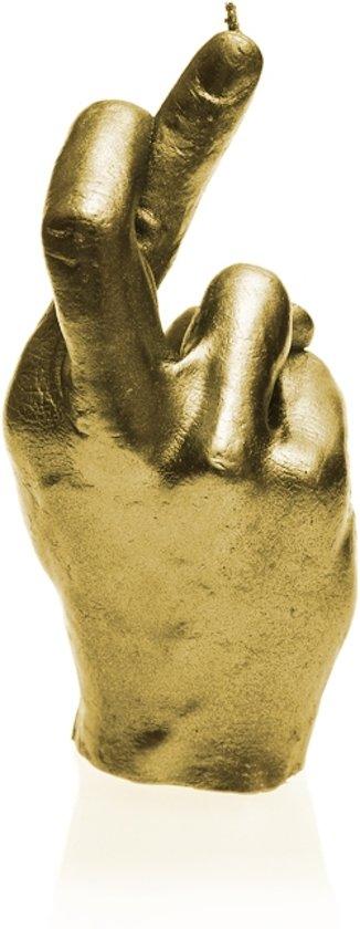 Geel Goud gelakte figuurkaars, design: Hand CRS Hoogte 19 cm (30 uur)