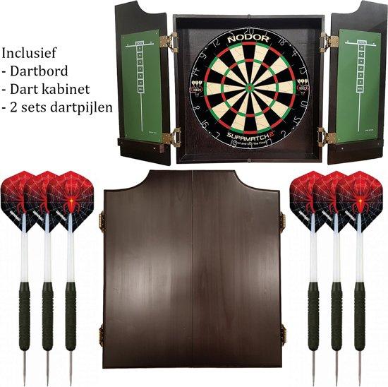 Dragon darts - Pro complete – dartkabinet – inclusief – nodor-winmau dartboard – inclusief 2 sets spider - dartpijlen