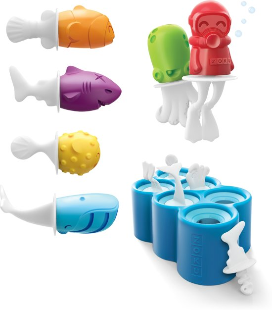 Zoku Slow Pop IJsmaker - Visfiguurtjes - 6 stuks - Blauw