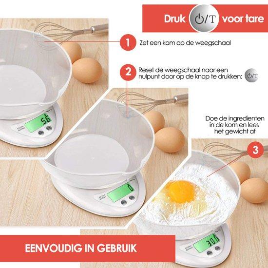 KitchenBrothers Keukenweegschaal (Inclusief Batterijen) – Digitale Weegschaal – 1 gram tot 5 kg - Wit