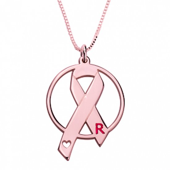 Naamketting 'circle' Pink Ribbon 24K rose-plated met letter