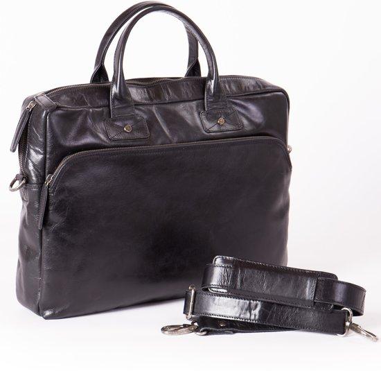 93ec2db6845 bol.com | Business bag -leder -zwart -Unisex- Laptoptas-heren/dames ...