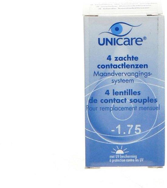 Unicare Maandlenzen -1.75 - 4 pack - Contactlenzen