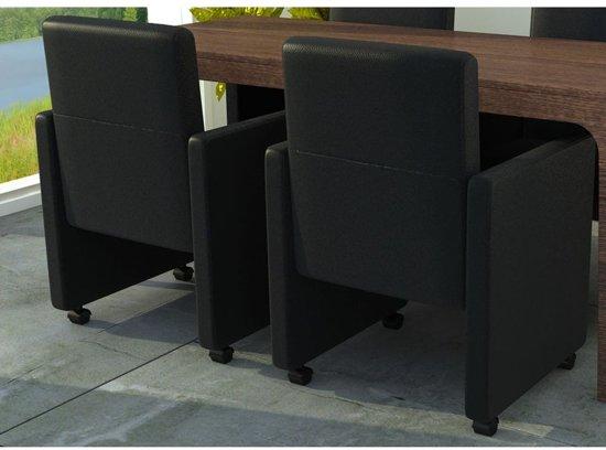 Stoel Op Wieltjes : Bol.com vidaxl eetkamerstoelen met wieltjes kunstleer zwart 2 st