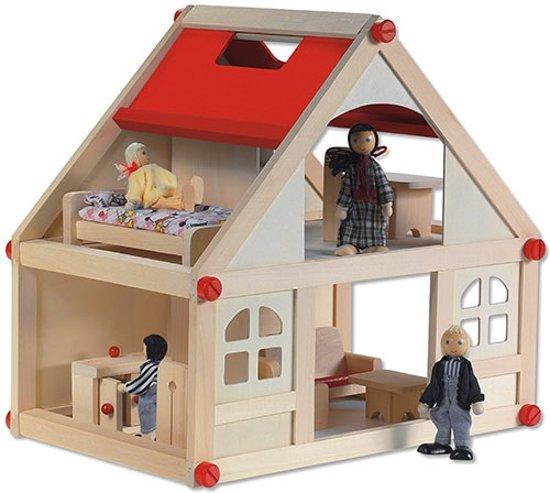 Playwood - Poppenhuis; inclusief meubels en 4 buigpoppen