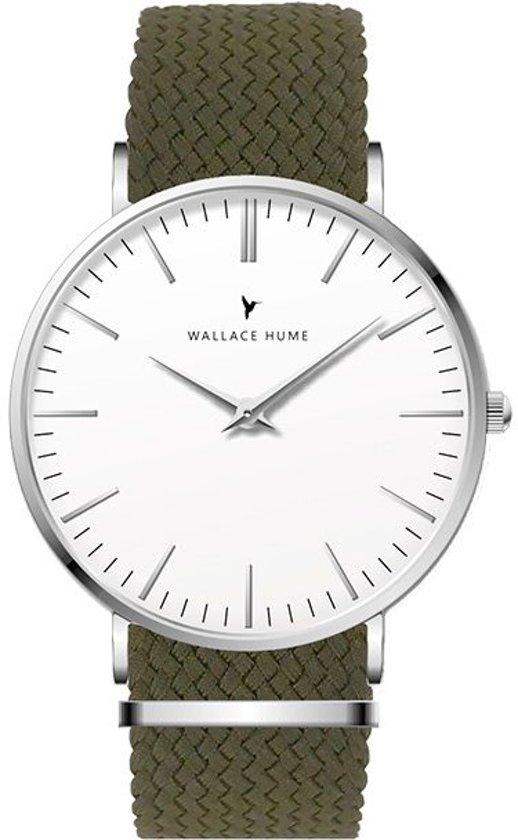 Wallace Hume Klassiek Wit - Horloge - Perlon - Olijf Groen