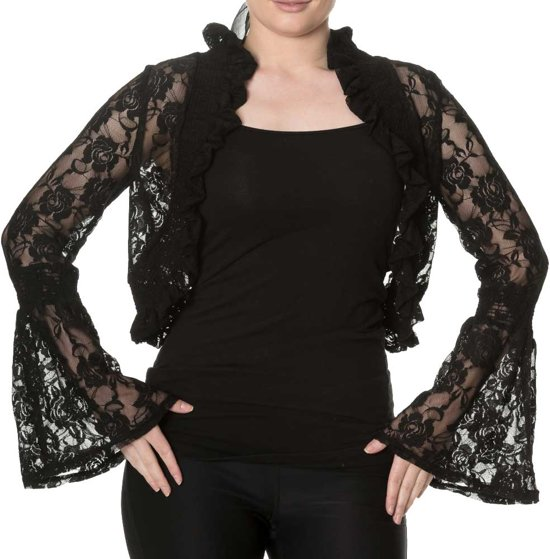 0dd1c46784c037 Diva Days kanten bolero met lange wijd uitlopende mouwen zwart - Gothic - M  - Dancing