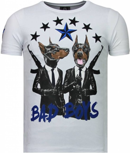 Local Fanatic Bad Boys Pinscher - Rhinestone T-shirt - Wit - Maten: M