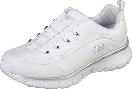 Skechers Synergy 2.0 Sneakers Dames White Silver Maat 41