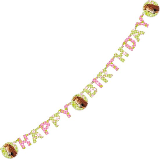 Letterguirlande 'Happy Birthday' Paarden