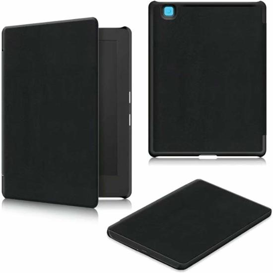 Geschikt voor: Kobo Aura H2O edition 2 (2017) Kobo 6.8 - e-reader - cover - bookmodel - bookcase - zwart - lederlook - uitsparing aanwezig - met magneetsluiting