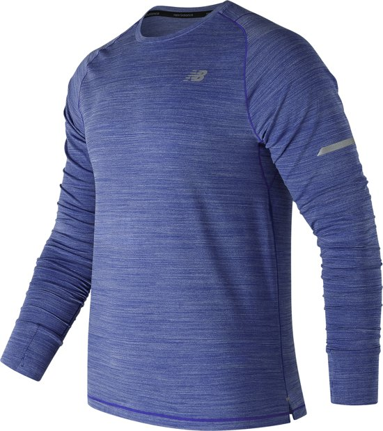 New Balance Seasonless Ls Sportshirt Heren - Blue - Maat S