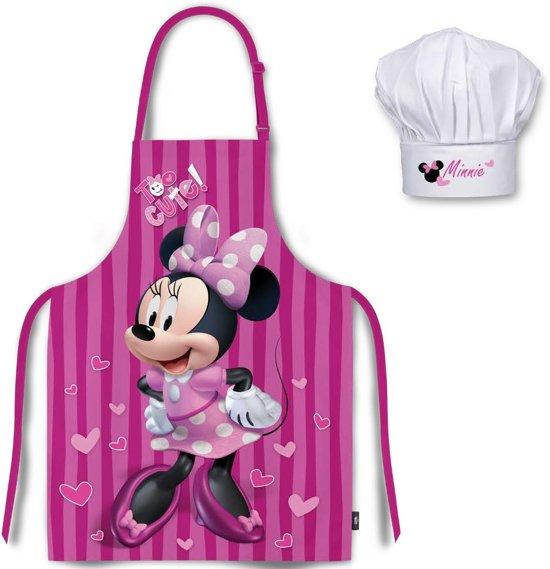 Minnie Mouse schort ( paars ) met koks muts 3-8 jaar