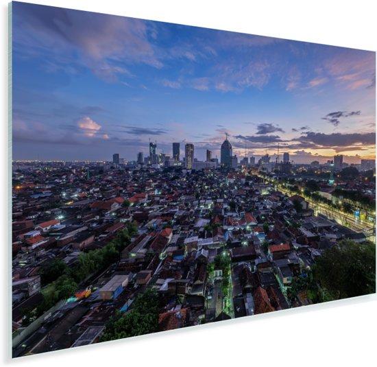 De Skyline Surabaya bij zonsopkomst in Indonesië Plexiglas 120x80 cm - Foto print op Glas (Plexiglas wanddecoratie)