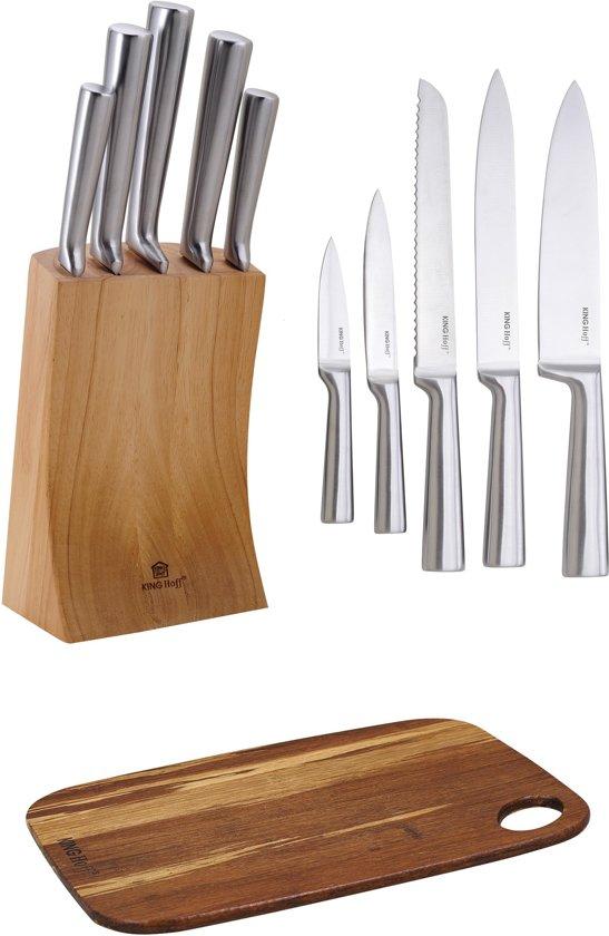 Messenset met blok 7 delig – RVS – houten roteerbare Messenblok Norberg + Bamboe Snijplank OP=OP!