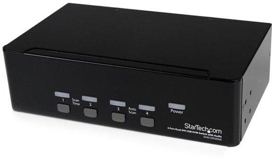 StarTech.com 4-poort Dual DVI USB KVM-switch met Audio en USB 2.0-hub