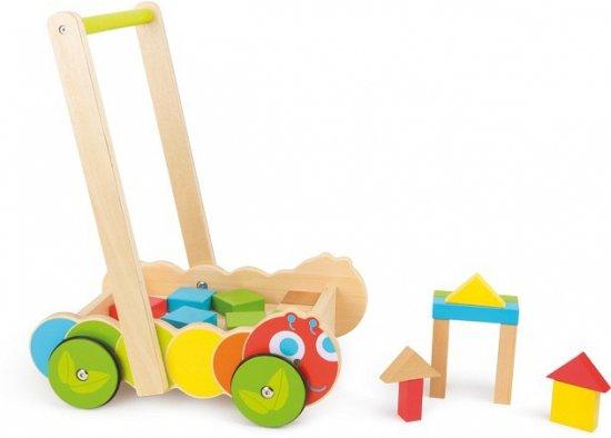 Houten rups loopwagen met blokken