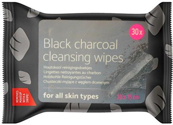 Zwarte Houtskool Gezichtsdoekjes – 30 Stuks – 20x15cm | Absorbeert Oliën en Vuil en Effectief Tegen Acne | Black Charcoal Facial Cleansing Wipes | Make-up Gezichtsreiniger | Gezichtsreiniging | Reinigingsdoekjes