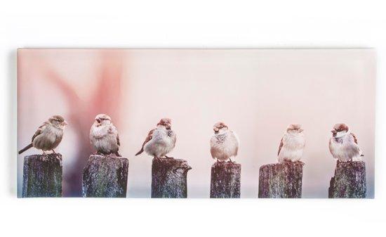 Art for the Home - Canvas Schilderij - Vroege Vogels - 100x40 cm