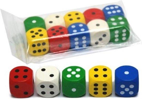 Afbeelding van het spel Gekleurde Houten Dobbelstenen - 25mm (10 stuks)