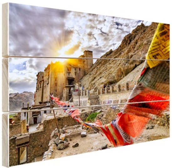 Omani gebedsvlag India Hout 80x60 cm - Foto print op Hout (Wanddecoratie)