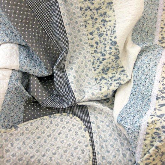 Quilt 1 Persoons.Lavandoux Bedsprei Quilt Blauwe Patchwork 2 Persoons 240x260