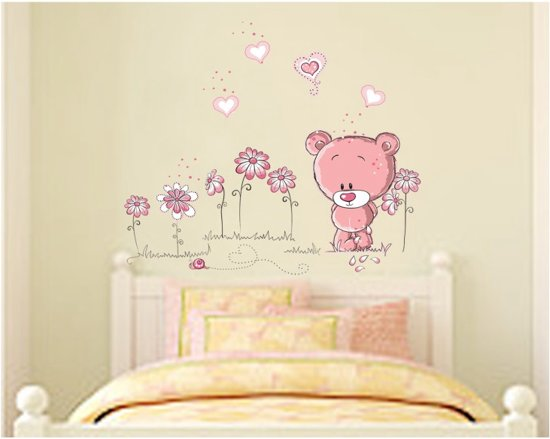 Kinderkamer Houten Boom : Bol.com vrolijke premium prachtige muursticker beer met bloemen