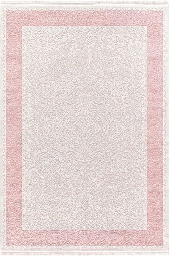 Vloerkleed lijstvorm  80x150cm roze,grijs
