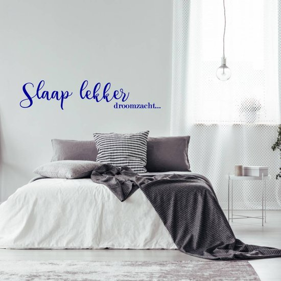 Muursticker Slaap Lekker Droomzacht -  Donkerblauw -  120 x 25 cm  - Muursticker4Sale