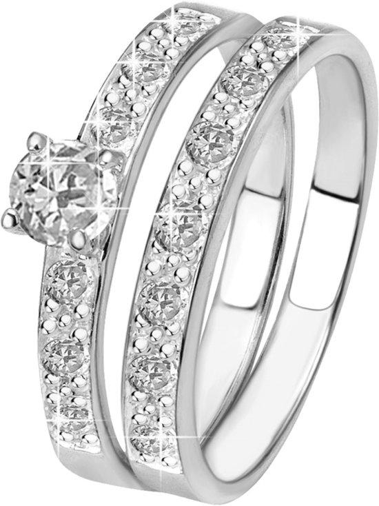 Lucardi - Zilveren dubbele ring met zirkonia