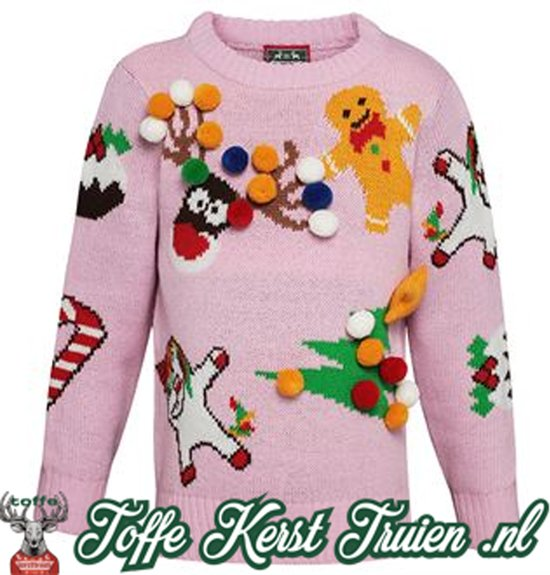 Kersttrui Kids.Bol Com Toffe Kersttrui Kids 3d Kids Mix And Match Roze 2 3 Jaar