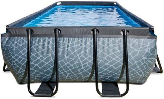 EXIT zwembad Stone 400x200cm met zandfilterpomp - grijs